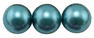 Glass Pearl Beads Teal Blue 10mm